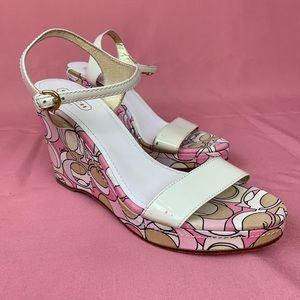 Coach Clara Pink Patent Leather Wedges